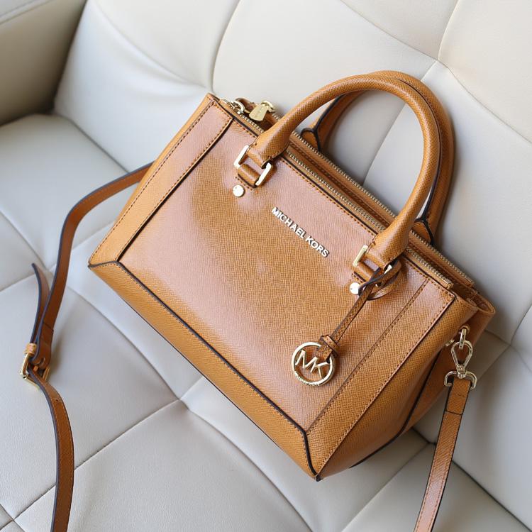 2014新款女包 MK Michael Kors 杀手包棕黄原版牛皮手提包单斜挎多用包包