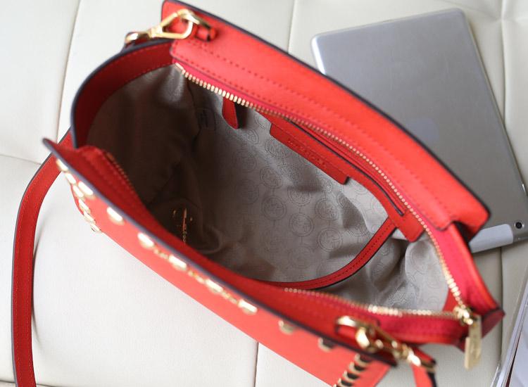 2014新款女包MK Michael Kors 小号铆钉包蝙蝠包红色牛皮斜挎包包