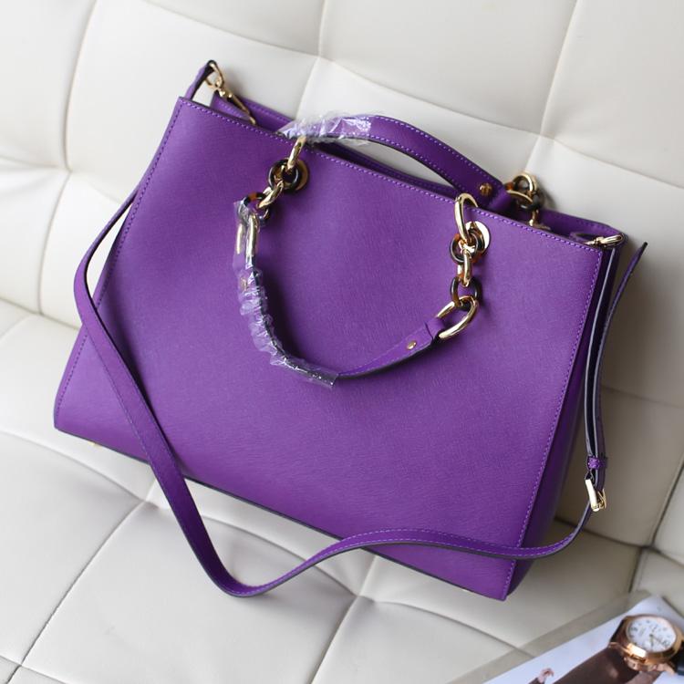 MK真皮包包 Michael Kors 玳瑁包紫色原版牛皮女款手提单肩斜挎包包