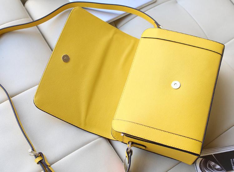 时尚欧美女包 MK空姐包 Michael Kors 黄色十字纹原版牛皮女款单肩包