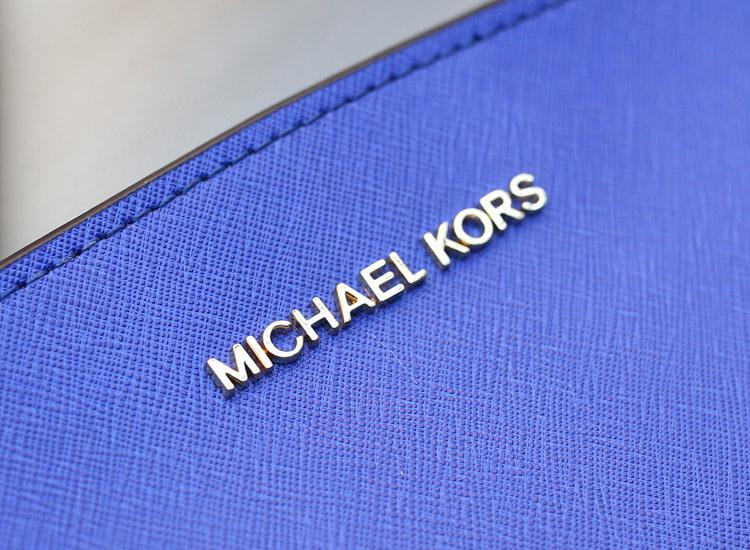 MK女包 Michael Kors Selma小号蝙蝠包原版十字纹牛皮电光蓝斜挎包