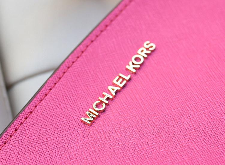 MK真皮女包 Michael Kors Selma蝙蝠包小号玫红十字纹牛皮斜挎女包