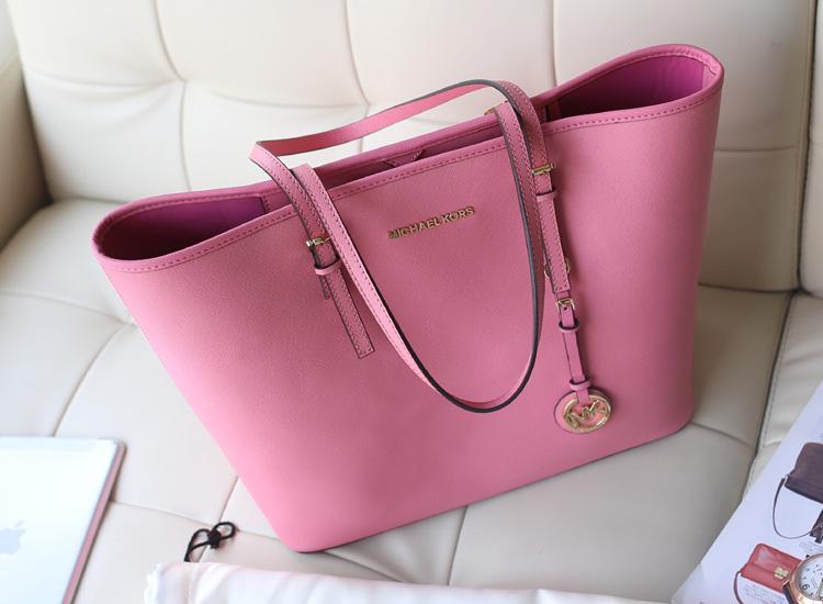 复古简约女包MK购物袋 Michael Kors 粉色原版牛皮女士手提包单肩包