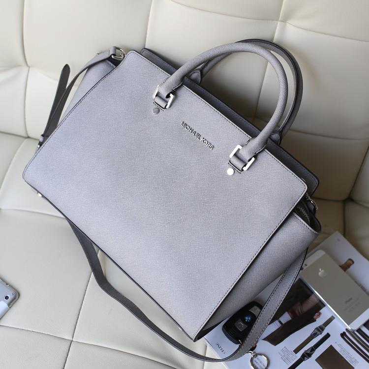 新款包包MK Michael Kors selma大号灰色十字纹牛皮手提斜挎女包