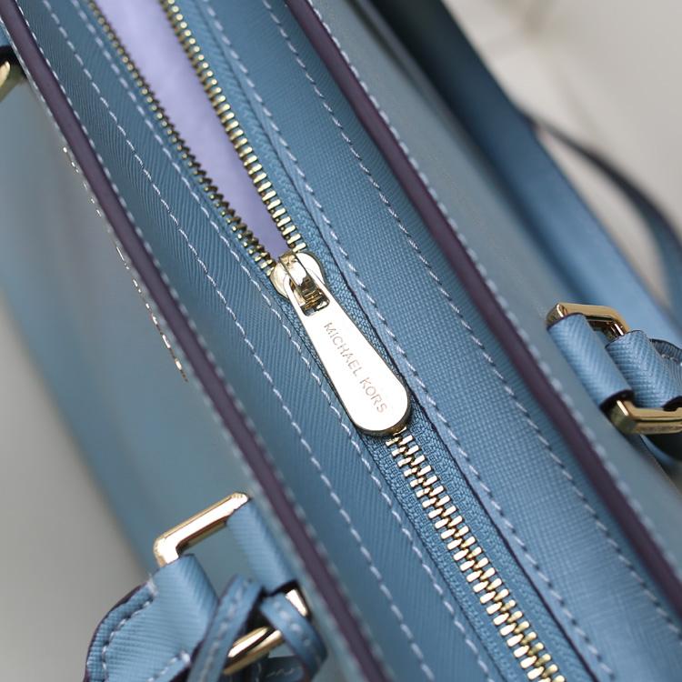 Michael Kors MK女包 十字纹牛皮8762蝙蝠包手提包单肩斜挎包浅蓝