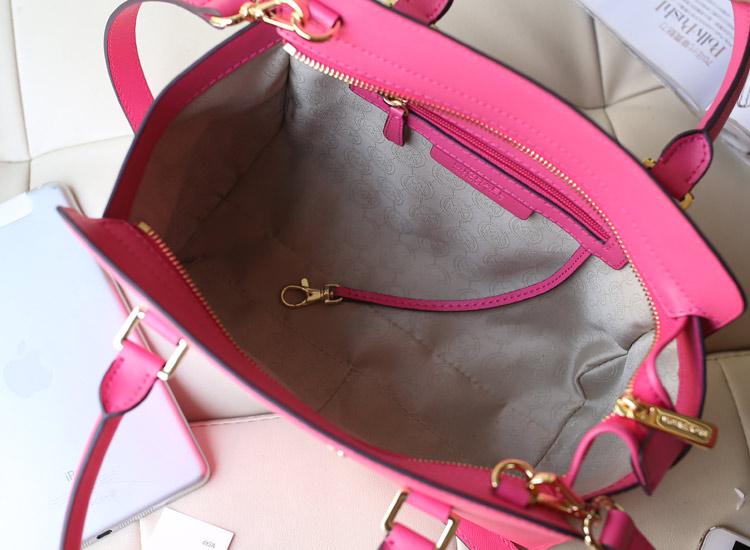2013新款包包 MK michael kors Selma十字纹真牛皮玫红笑脸包蝙蝠包手提女包