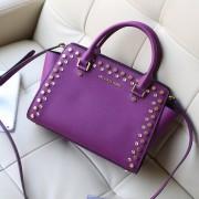 2014新款女包 michael kors MK 紫色十字纹牛皮镶钻铆钉包蝙蝠包