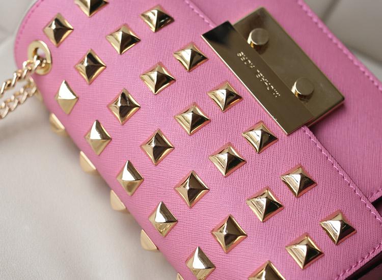 2014热销 michael kors新款女包 MK原版十字纹牛皮翻盖铆钉链条包
