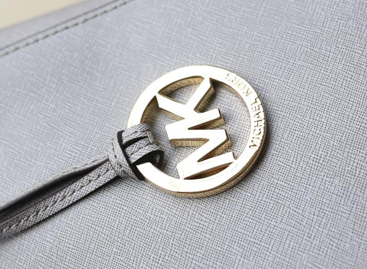 时尚欧美女包 michael kors MK原版十字纹牛皮购物袋灰色