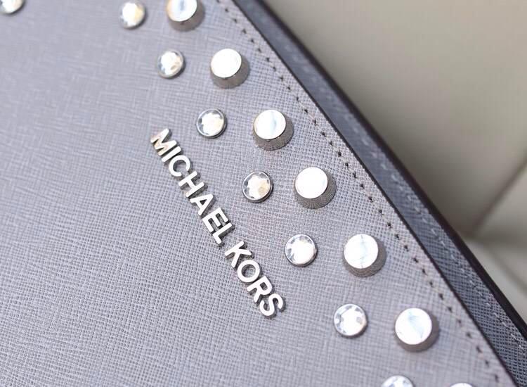 2014新款女包michael kors MK包包 灰色十字纹牛皮单肩包斜挎包