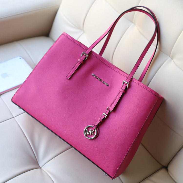 michael kors新款购物袋 MK原版十字纹牛皮女士购物袋单肩包玫红