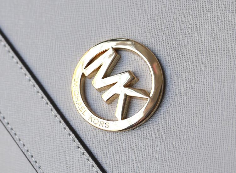 MK新款 Michael Kors 空姐包灰色十字纹原版牛皮单肩女包