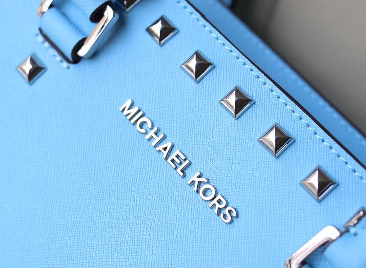 michael kors MK双排钻包包 冰蓝 十字纹牛皮单肩包斜挎包
