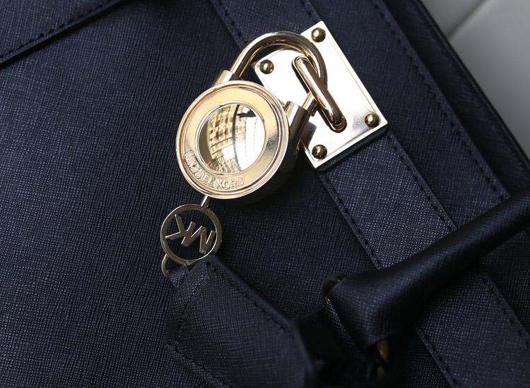 MK Michael Kors MK锁头包 黑色 十字纹牛皮真皮女包 单肩手提包