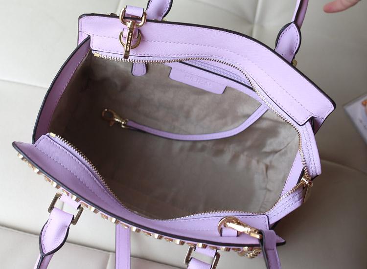 MK双排钻蝙蝠笑脸包 新颜色 薰衣草紫出货 原版牛皮女包