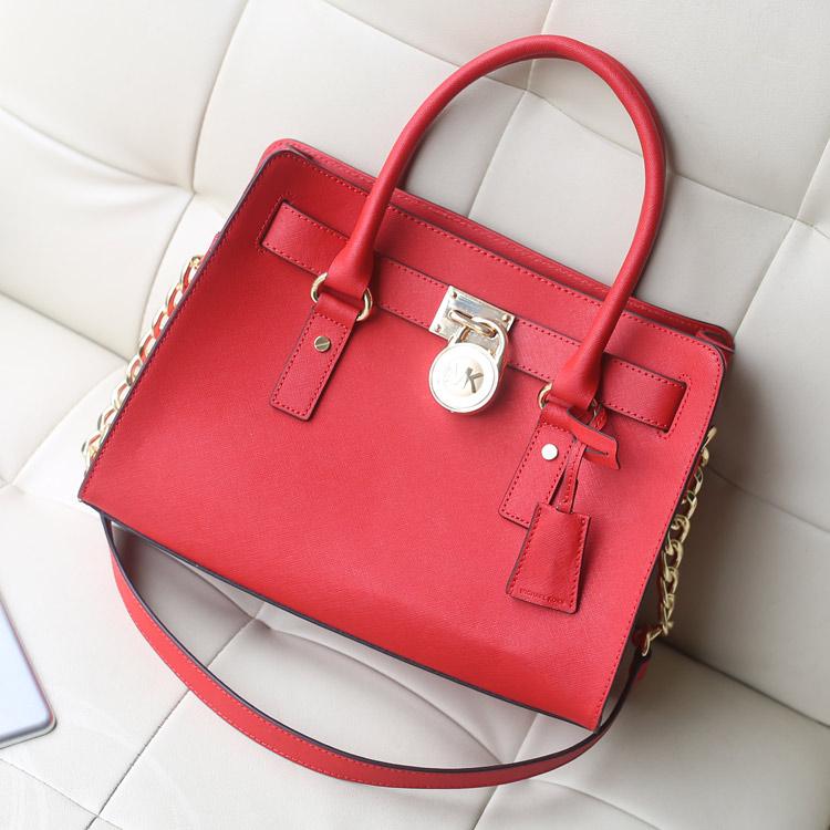 MK锁头包中号大红色出货 原版十字纹牛皮 手提斜挎女包