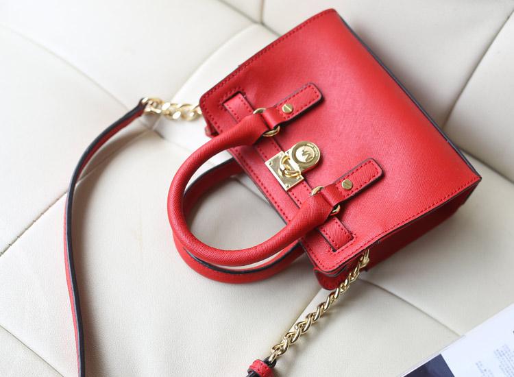2014MK新款 原版十字纹牛皮 迷你锁头包 大红