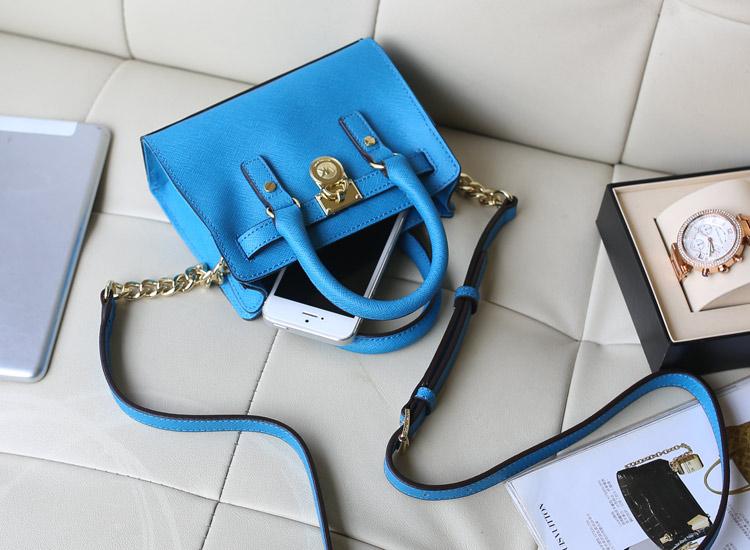 2014MK新款 原版牛皮 迷你锁头包 中蓝