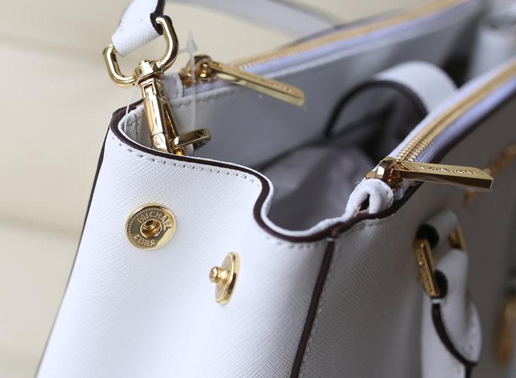 MK dressy/sutton杀手包双拉链 白色 十字纹牛皮 手提包女包