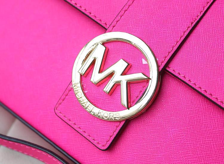 厂家直销 MK新款 原版十字纹牛皮单肩 盖头 斜挎包 荧光玫红