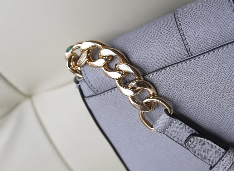 热销女包包 MK新款 大象灰 原版皮十字纹牛皮 盖头包单肩斜挎包