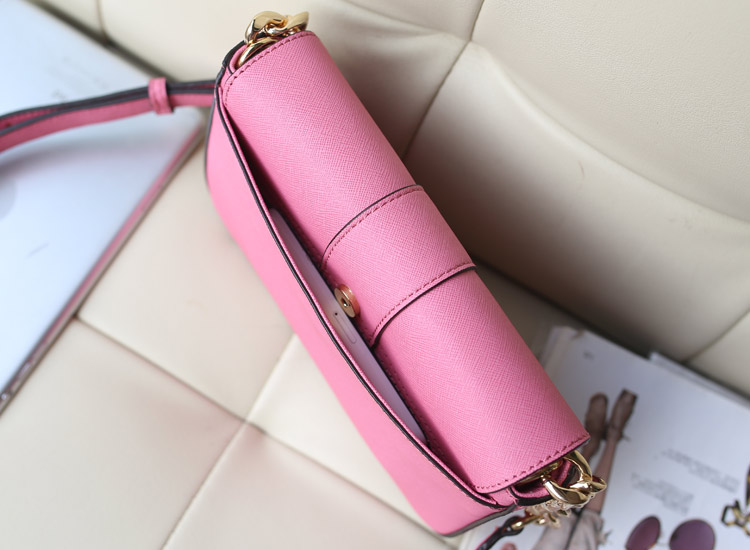 品牌包包批发 MK盖头包 原版十字纹牛皮 粉色 时尚女包斜挎包