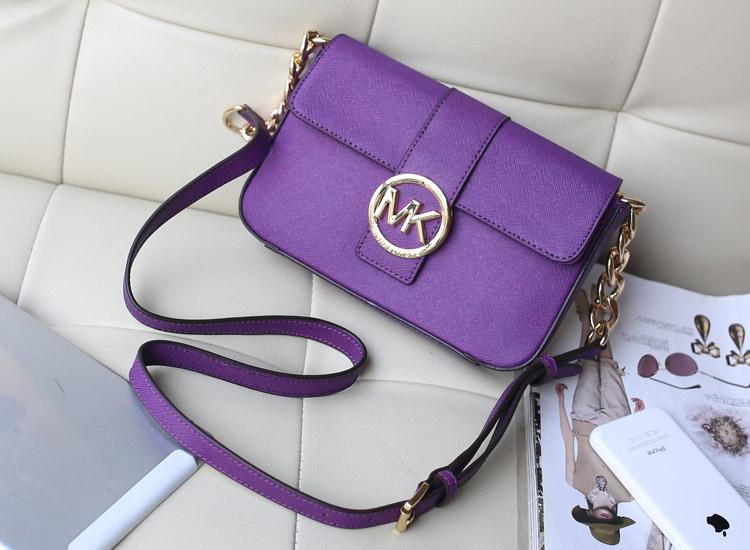 实拍 MK包包新款 紫色 十字纹牛皮原版皮 单肩斜挎女包