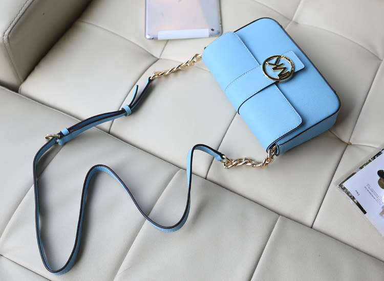MK2014夏季新款盖头包 单肩斜挎女包 浅蓝 原版牛皮