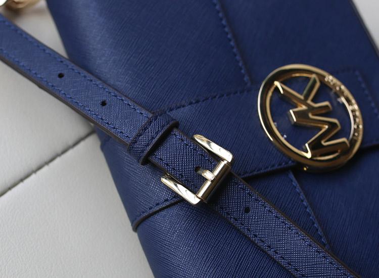 厂家直销 MK新款 十字纹牛皮原版皮 深蓝色 单肩斜挎包