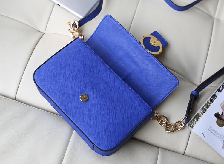 时尚新款女包 MK包包 十字纹牛皮原版皮 单肩斜挎包 电光蓝