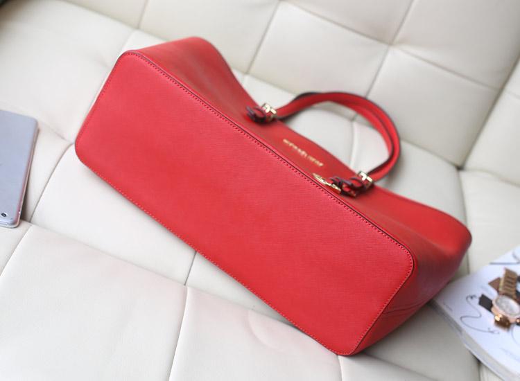 MK专柜同步新款隔层购物袋单肩包 十字纹牛皮 大红