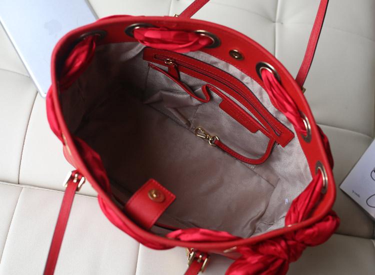 一件代发 MK丝巾包新颜色大红牛皮女士手提单肩包女包