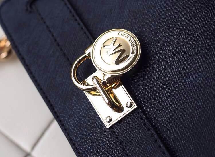 MK专柜同步新款 原版十字纹牛皮锁包 斜挎单肩女包 黑色