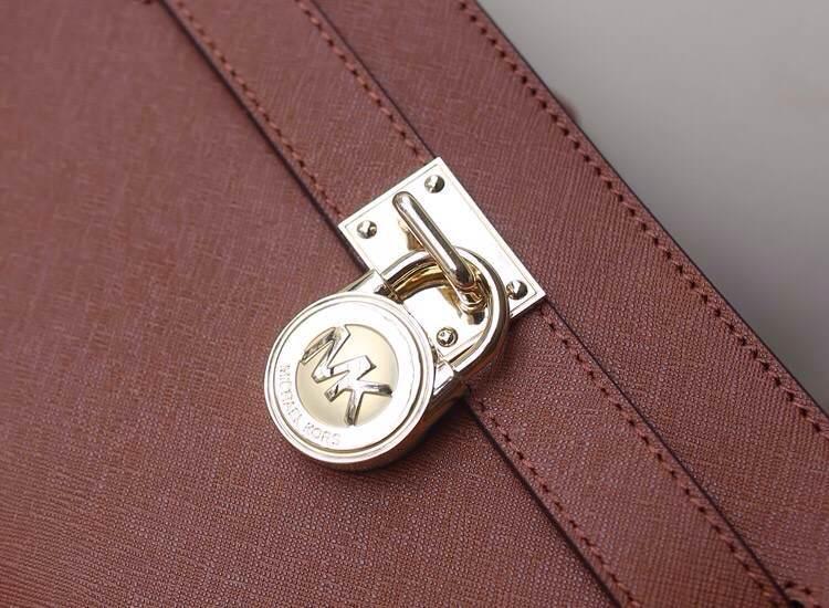 Michael Kors  MK 进口十字纹牛皮锁包 单肩斜挎女包 咖啡色