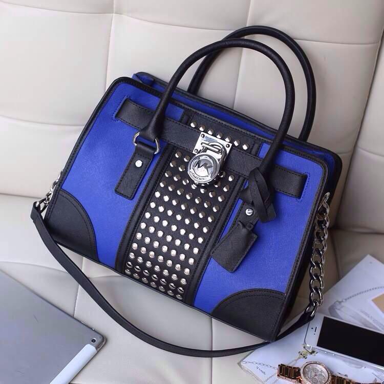 高档真皮包包 MK原版十字纹牛皮女包 电光蓝 拼色铆钉锁头包