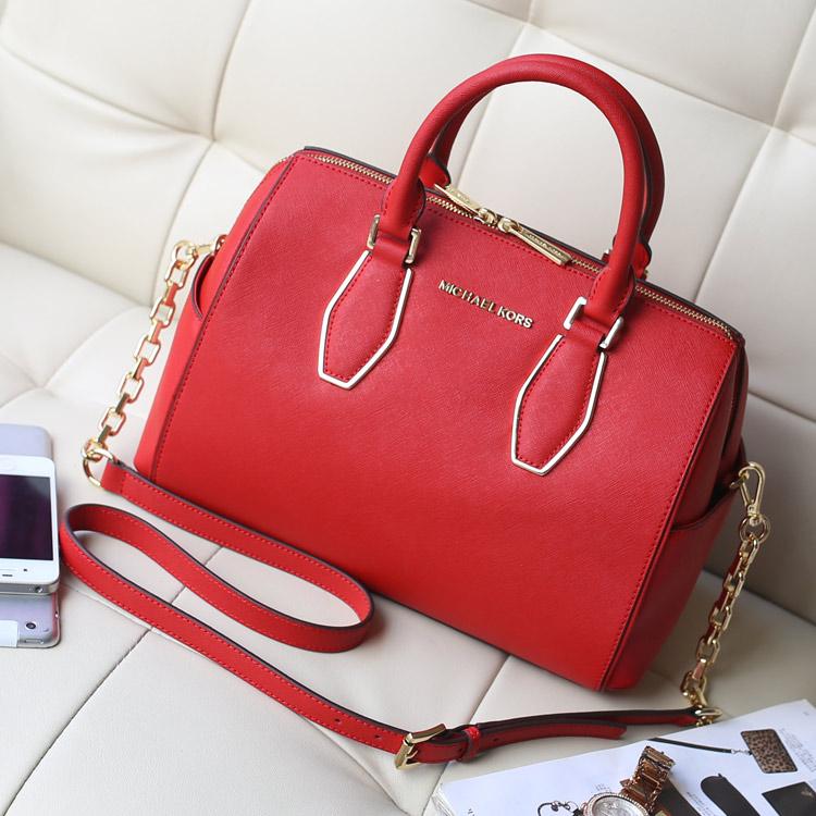 广州包包批发 MK贝壳包枕头包 原版皮 大红色 手提包时尚女包