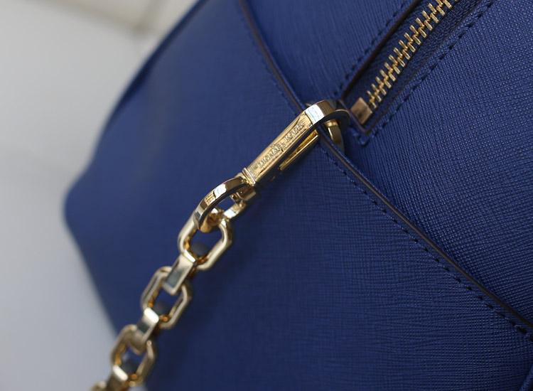 一件代发 MK2014新款大号链条枕头贝壳包原版皮 宝蓝 手提斜挎女包