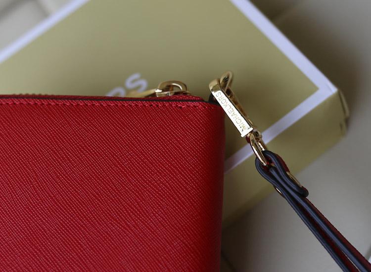 一件代发 MK铆钉钱包 原版十字纹牛皮 女士拉链钱包手包 大红