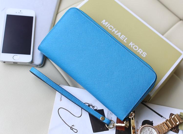 实拍 MK钱夹铆钉款 原版皮 浅蓝色 女士长款拉链钱包钱夹