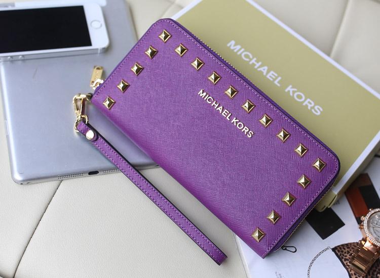 热销新款钱包 MK铆钉钱包 十字纹牛皮女士长款钱夹 紫色