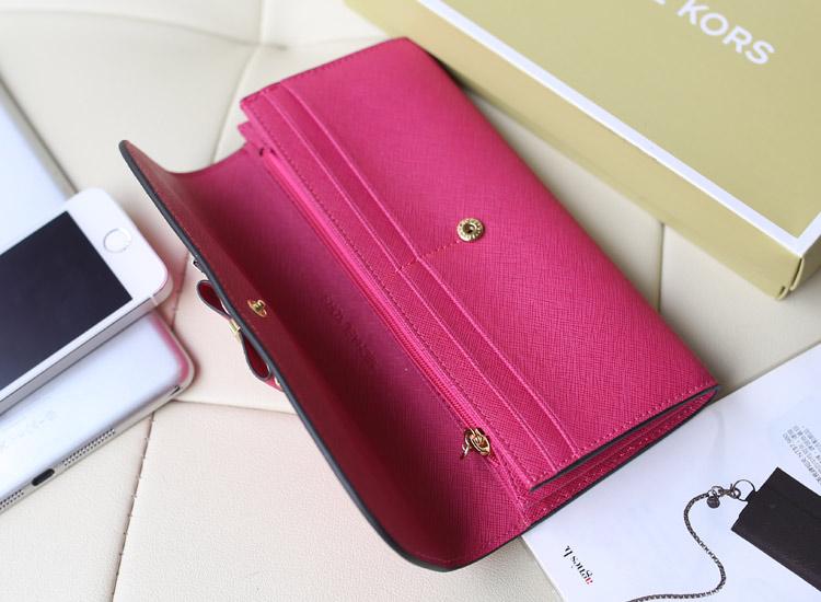 高档MK新款钱包 蝴蝶结款 长款女士拉链钱夹手包 玫红色 原版皮