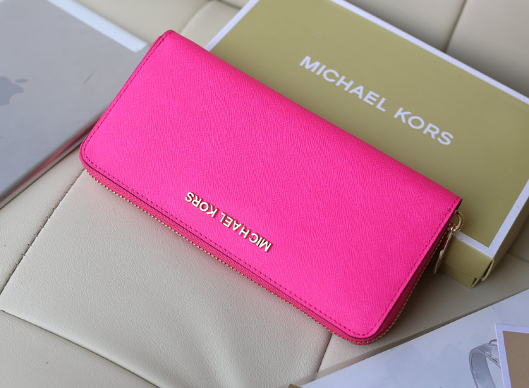 MK新款出货 原版十字纹牛皮 拉链钱包女士长款钱包 荧光玫红