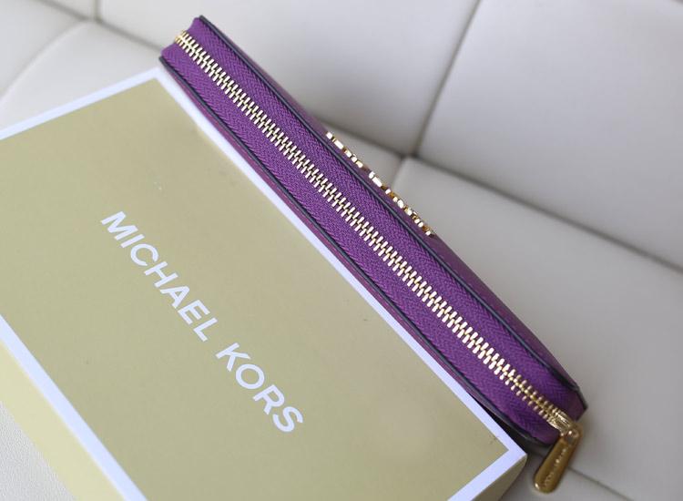 厂家直销 MK钱包无钉款进口十字纹牛皮紫色 女士手包钱夹
