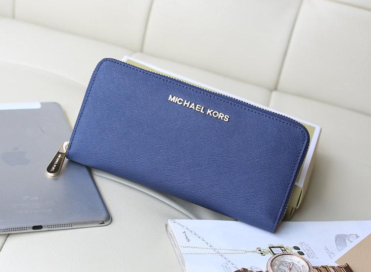 夏季新款钱包 MK宝蓝色十字纹牛皮 女款拉链钱夹卡包