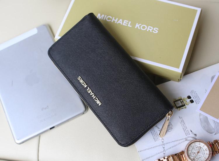 MK新款钱包 无钉款拉链长款钱包 黑色原版皮女手包钱夹真皮