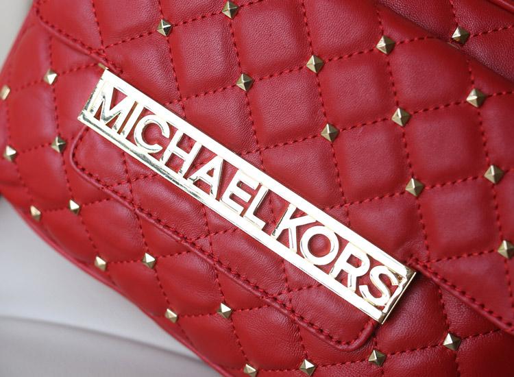 诚招代理 MK女包新款 铆钉羊皮单肩包 红色真皮女包斜挎包