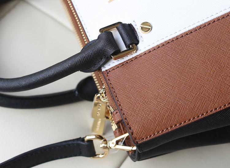 厂家直销 MK十字纹牛皮拼色杀手包 棕色拼白色 中号女包手提包