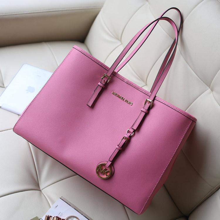 厂家直销 MK原版十字纹牛皮 中隔购物袋单肩女包真皮 粉色