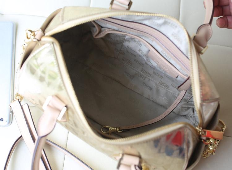 MK包包诚招代理 新款烫金字母枕头包 进口原版皮金色女士手提包