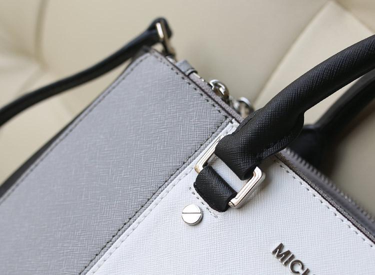 MK 2014秋冬新款拼色杀手包 灰白色 十字纹牛皮女士手提单肩斜挎包